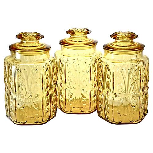 1950s Amber Glass Jars, S/3