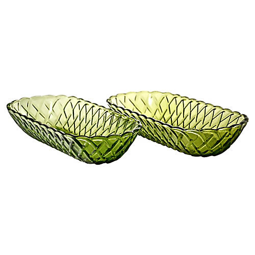 Green Oval Bowls, Pair