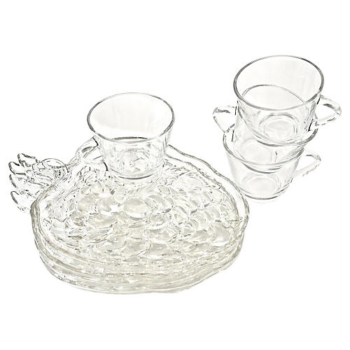 Grape Cluster Snack Trays w/ Cups, S/4