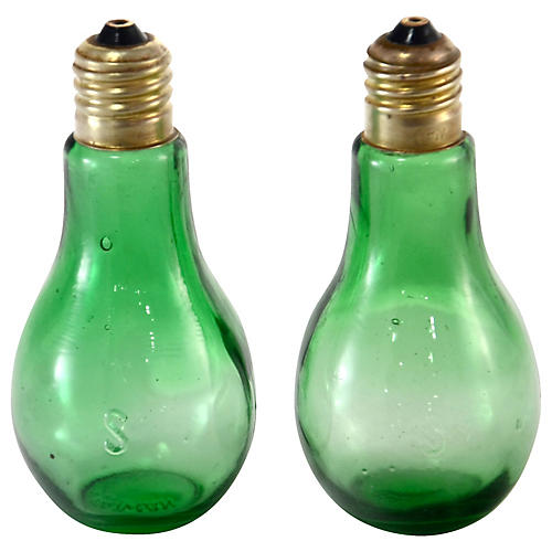 Green Holiday Light Salt Shakers, Pair