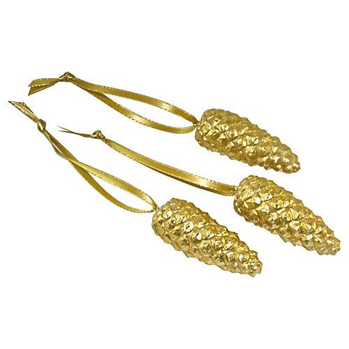Gold Pinecone Ornaments, S/3