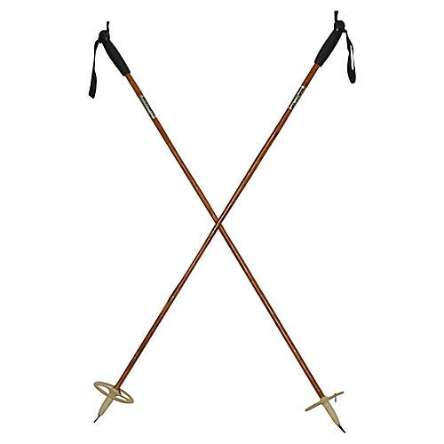 """Nordic 49"""" Wood Ski Poles, Pair"""