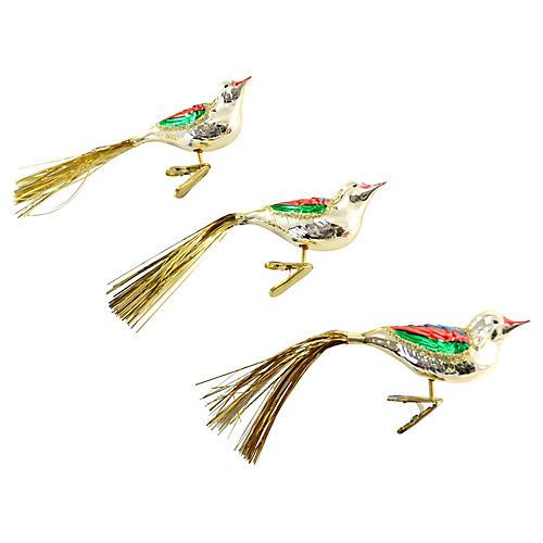 German Blown Glass Bird Clips, S/3
