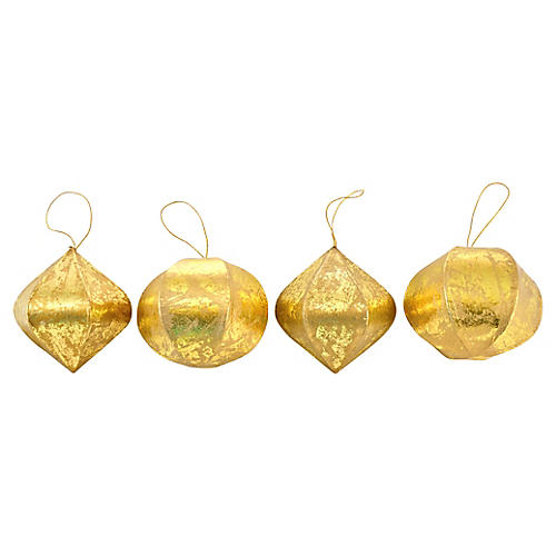 Gold Brushed Ornaments, S/4