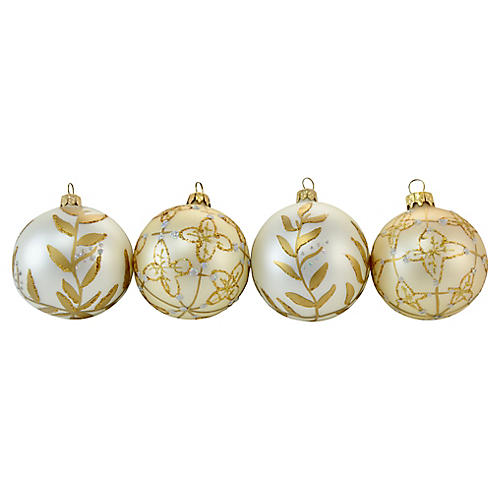 Gold & Pearl Gold Glass Ornaments, S/4