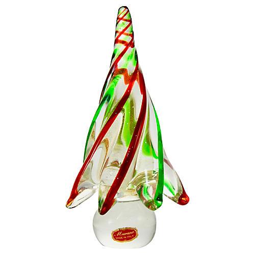 Murano Gold & Green Art Glass Tree