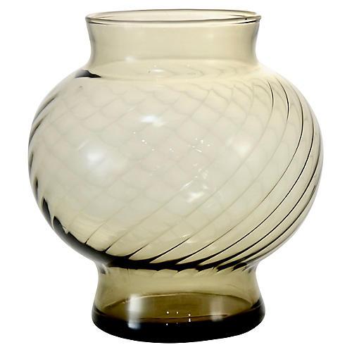 Midcentury Smoked Glass Vase