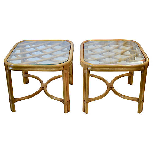 Bamboo Glass Top Tables, Pair