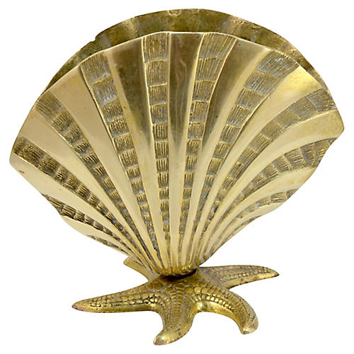 Solid Brass Seashell & Starfish Vase