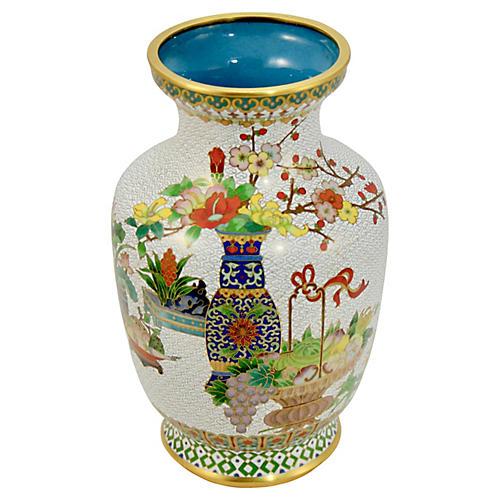 """Chinese 9"""" Cloisonne Garden Vase"""