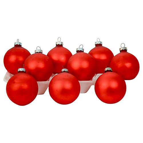 Red Satin Glass Ball Ornaments, S/9