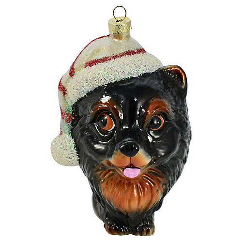 "Blown Glass 5"" Dog Bust Ornament"