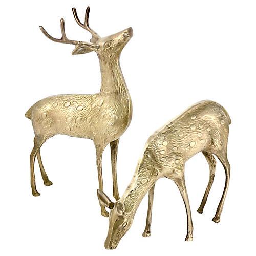 "Brass 12"" Buck & Doe, Pair"