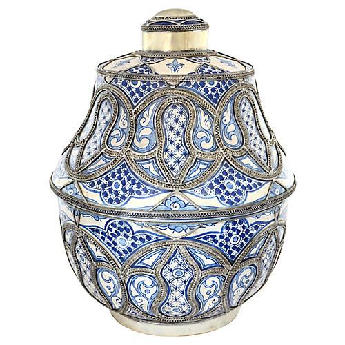 Blue & White Moroccan Pottery Jar