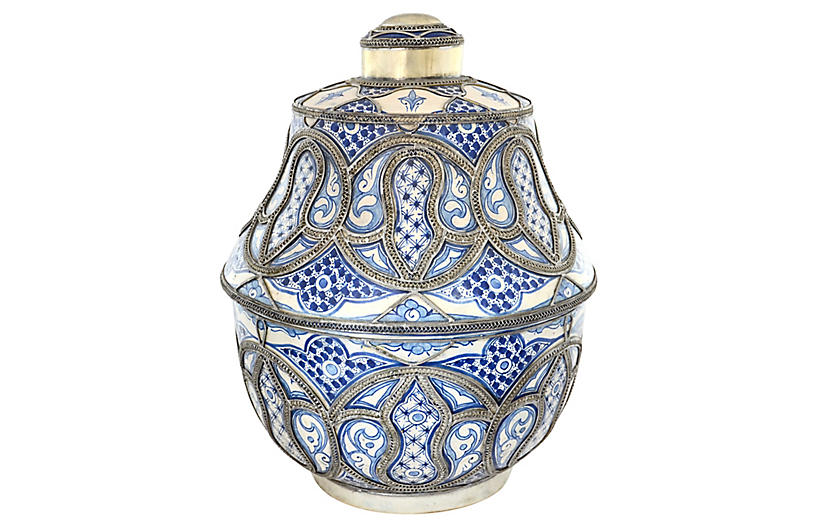 Blue & White Moroccan Pottery Jar