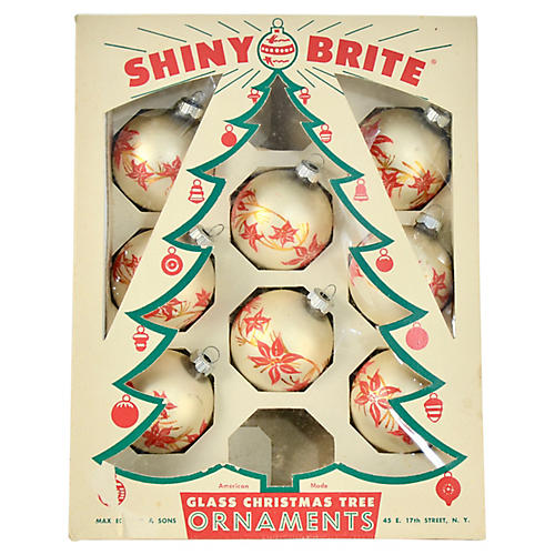 Shiny Brite Poinsettia Ornaments S/8