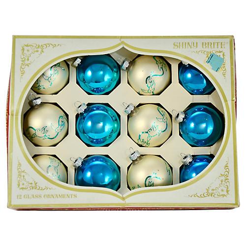 Shiny Brite Aqua Bird Ornaments, S/12