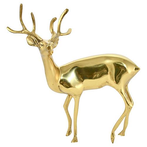 """Midcentury Brass 9"""" Deer"""