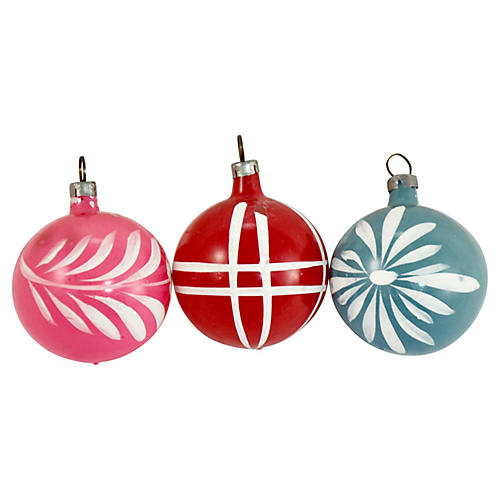German Unsilvered Glass Ornaments, S/3