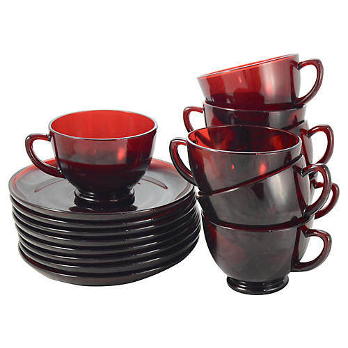 Ruby Red Glass Cups & Saucers, S/8