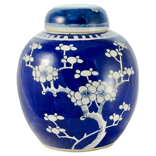 """19th-C. Blue & White 8"""" Prunus Bloom Jar"""