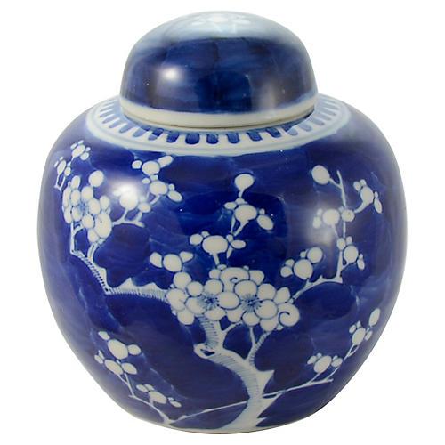 19th-C. Blue & White Prunus Blossom Jar