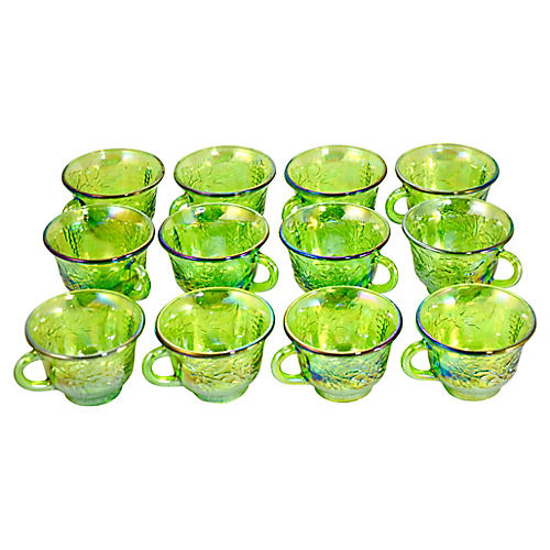 1950s Green Iridescent Cups, S/12