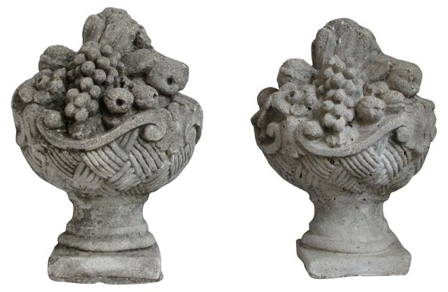 Concrete Fruit Baskets, Pair
