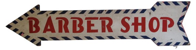 1930s Wood Barber Shop Sign