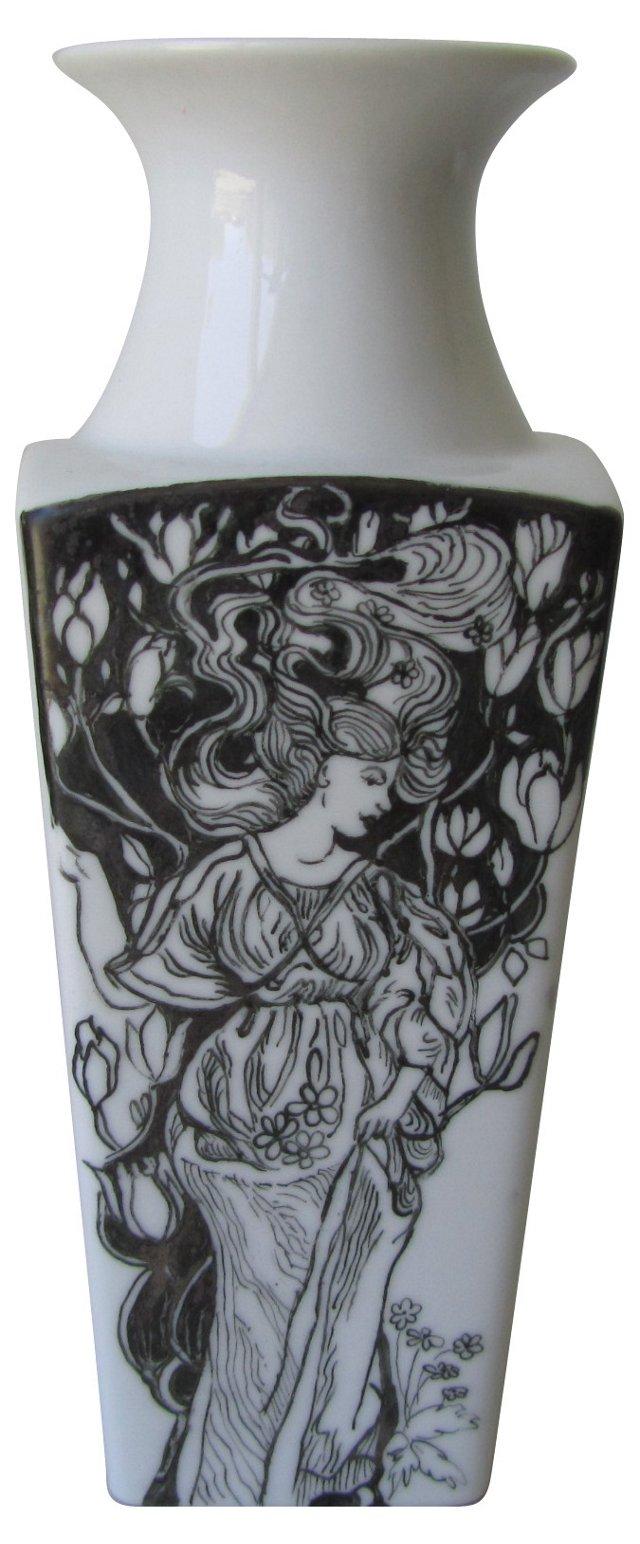 White Ceramic Painted Lady Vase