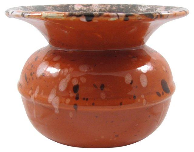 Orange & Brown Splatter Ceramic Vase