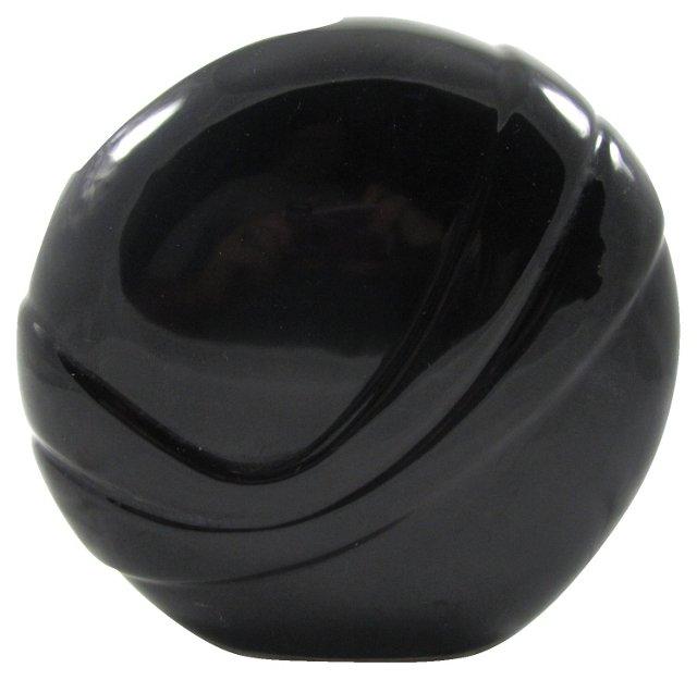 Black Ceramic Circular Swirl Vase