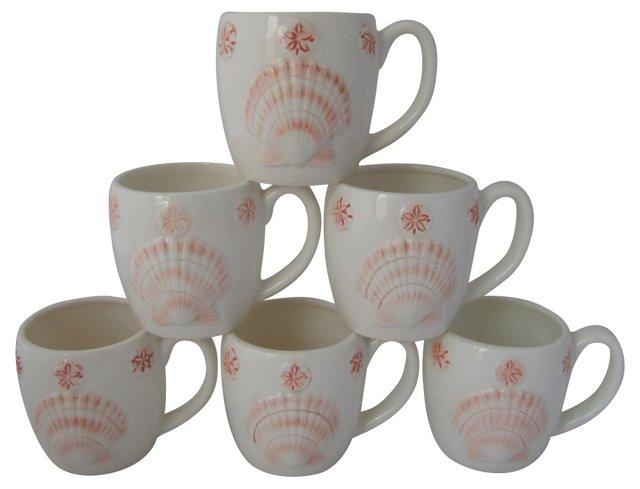 Ceramic Seashell & Starfish Mugs, S/6