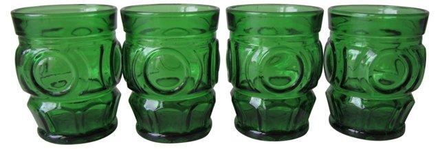 Green Glass Circle Tumblers, S/4
