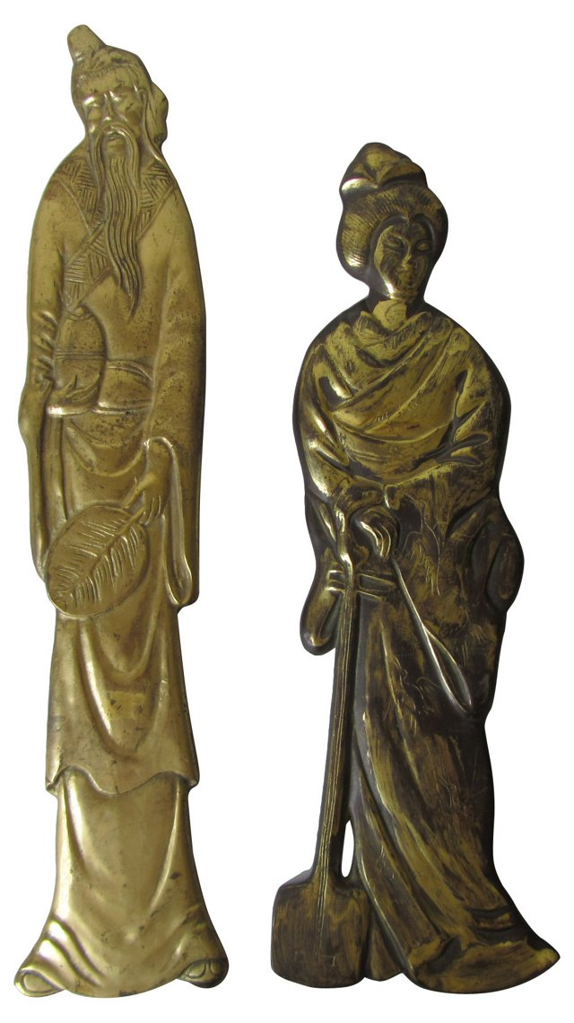 Asian Brass Wall Sculptures, Pair