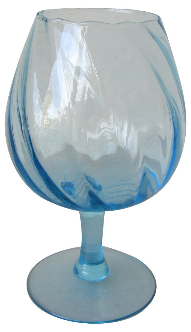 Turquoise Blown Glass Pedestal Compote