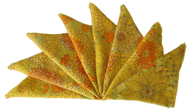 Orange Floral Linen Napkins, S/8