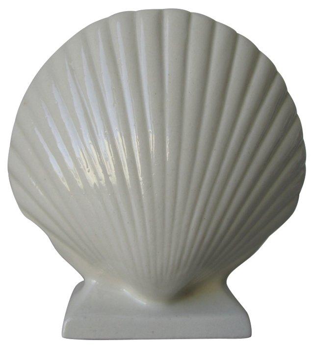 Cream Ceramic Shell Vase