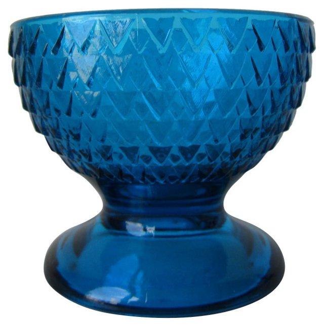 Turquoise Glass Pedestal Dish