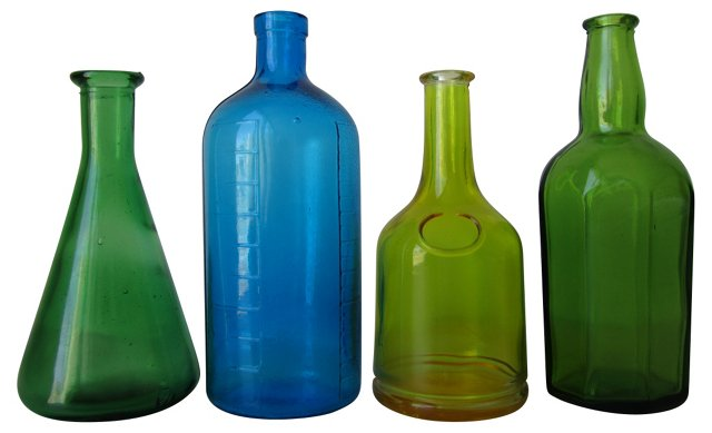Colored Glass Bottles, S/4