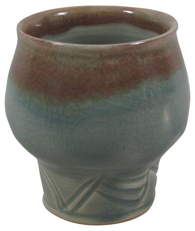Blue & Brown Hand-Thrown Pot