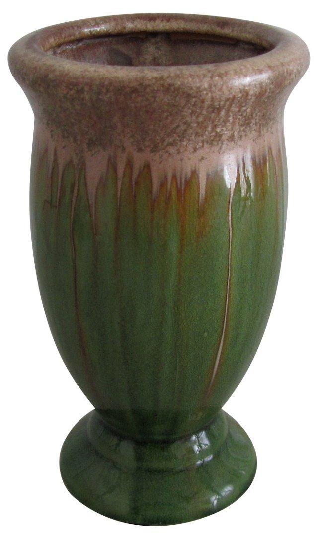 Green & Gold Crystaline Drip Vase