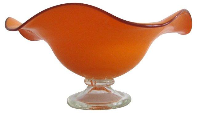 Orange Pedestal Blown Glass Bowl
