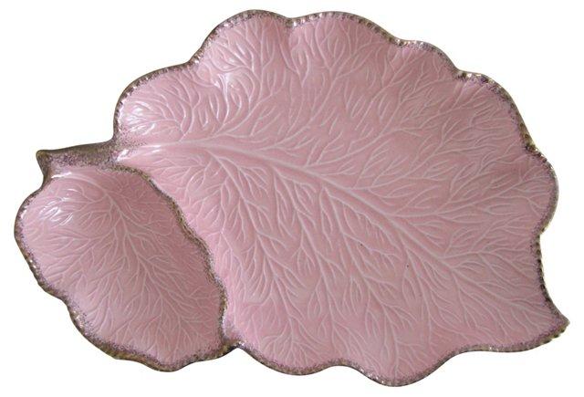 Pink & Gold Ceramic Leaf Serving Dish