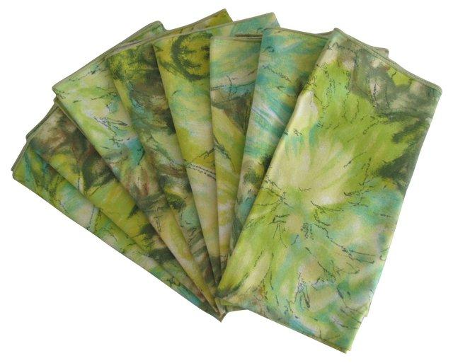 Green Floral Napkins, S/8