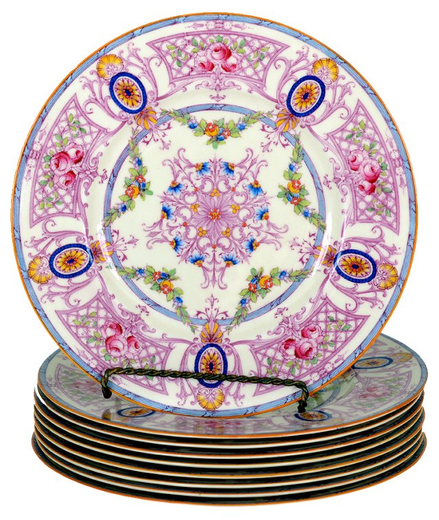 Hand-Painted English Plates, S/9