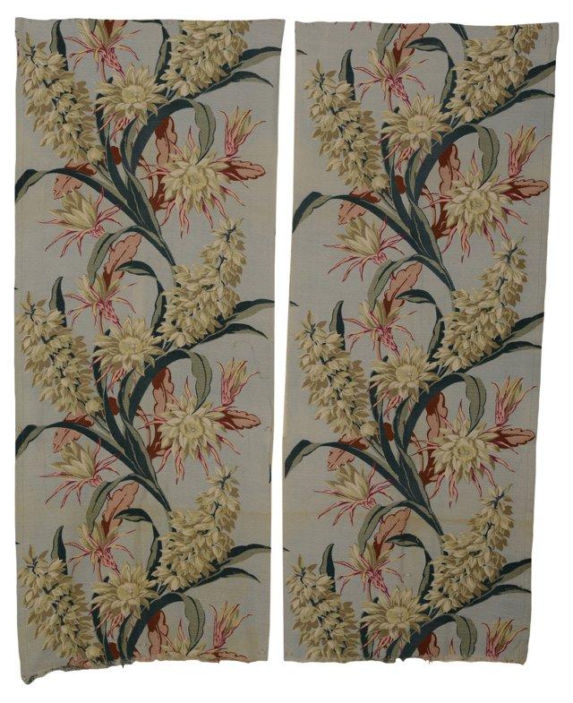 Barkcloth Floral Curtains, Pair