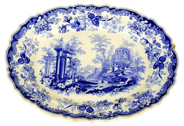 Athens Blue & White English Platter