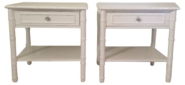 Faux-Bamboo End   Tables, Pair
