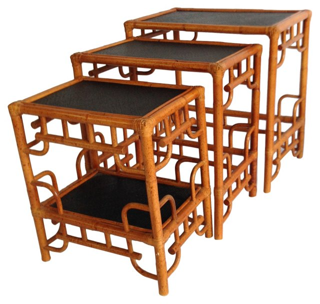 Chinese Chippendale Nesting Tables, S/3